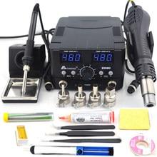 Station de soudure numérique LED 2 en 1, fer à souder électrique pour réparation téléphones PCB/IC/SMD/BGA, air chaud, 800W