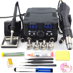 2 en 1 800W LED Station de soudure numérique pistolet à Air chaud Station de reprise fer à souder électrique pour téléphone PCB IC SMD BGA soudage