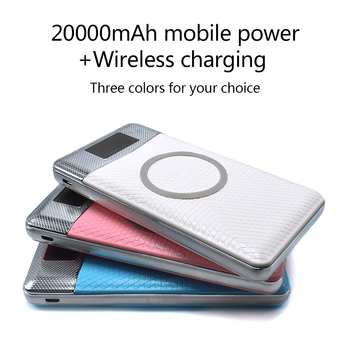 Wireless Power Bank Dual USB 20000mAh Wireless Charger Powerbank External Portable with LED Light External Battery Pack Hot Sale usb battery bank charger
