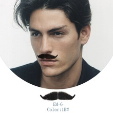 Neitsi Mens Mustache 1Pcs 100% Handmade Human Hair Fake Beard For Makeup Fancy Cosplay Dress EM-6