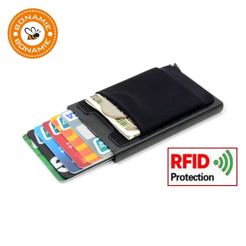 BONAMIE Aluminum Wallet With Elasticity Back Pouch ID Credit Card Holder RFID Mini Slim Wallet Automatic Pop Up Credit Card Case
