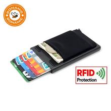 BONAMIE aluminiowy portfel z elastycznością Tylna torba ID posiadacz karty kredytowej RFID mini Slim Wallet automatyczny pop up karta kredytowa Case tanie tanio Posiadacze kart IDENTYFIKATOROWYCH Metalowe Aluminium + Lycra + tworzywo sztuczne Unisex Na BONAMIE Pole Bez zamków błyskawicznych