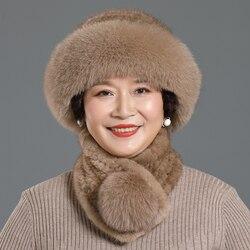 Женская зимняя вязаная шапка из натурального меха норки, кепка с покрывалом, шапки и теплые шарфы из лисьего меха, уличная вязаная шапка, шар...