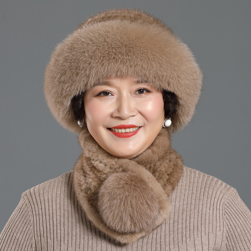 Women Winter Knitted Genuine Mink Fur Bucket Cap Hats &Warm Fox Fur Ball Scarves Outdoor Knitted Beanie Scarf Gifts For Wife