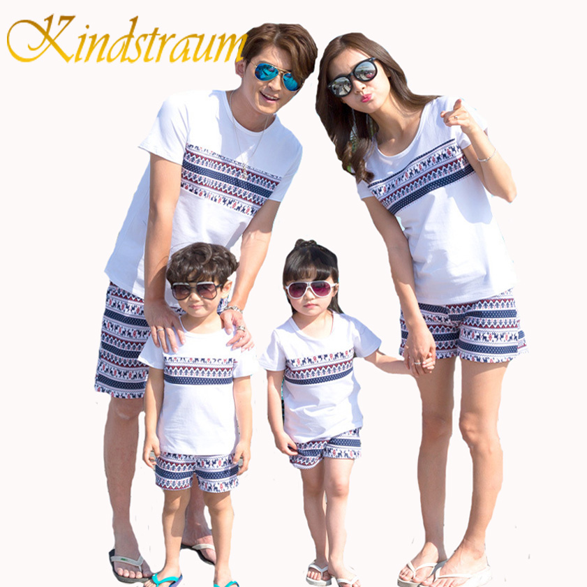 Kindstraum Fashion Family Clothing Sets Printed Cotton T shirt Shorts Family Matching Clothes Summer Dad Mom Kids Suits, MC490
