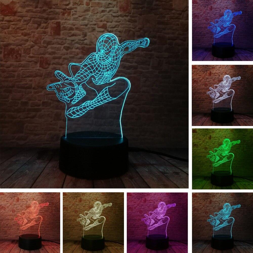 Nouveau Saut Spider Man 3D 7 Couleurs Changeantes illusion Led Night Lights LED Bureau Table De Chevet Lampe de Couchage Décor À La Maison cadeaux de noël