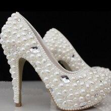 Evening Anniversary Party Prom Outfit Dress shoes Amazing Wedding Bridal Shoes Round Toe Rhinestone Celebration Bridesmaid