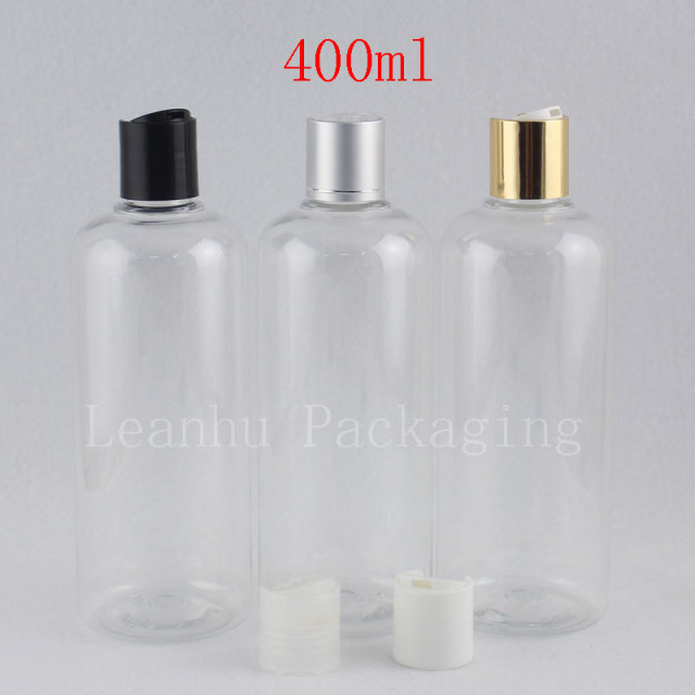 5d4b3d73c730 400CC Clear Plastic Bottles With Caps Shampoo Container Empty Gold Silver  Disc Top Cap,Shower Gel Body Lotion Packaging 400ml-in Refillable Bottles  ...