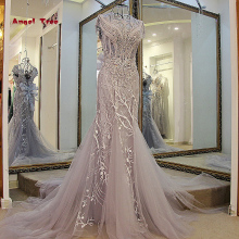 Angel Tree Custom Made Sleeveless O-Neck Embroidery Crystal Mermaid Wedding Dress 2018 Wedding Dresses Trumpet Court Train