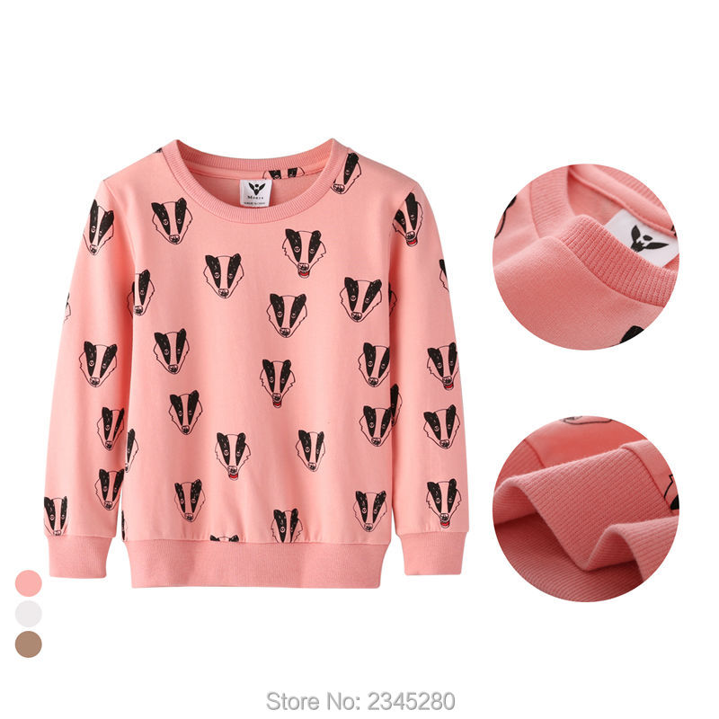 T-Shirts For Girls Boys Sweatshirt Badger Print Shirt Children Sweater Kids Bobo Choses Clothes New Year Spring 2017 Tops 3-10Y01111