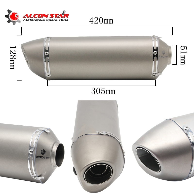 Alconstar- Motorcycle Exhaust Modified Scooter Exhaust Muffler GY6 YZF R1 R3 R6 FZ6 TMAX530 GSX-R S1000RR ATV Dirt Bike Exhaust modified akrapovic exhaust escape moto silencer 100cc 125cc 150cc gy6 scooter motorcycle cbr jog rsz dirt pit bike accessories
