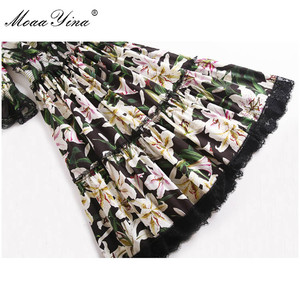 Image 5 - MoaaYina מסלול מעצב אופנה שמלת אביב קיץ נשים שמלה V צוואר שושן פרחוני אלגנטי כותנה שמלות