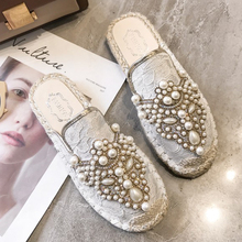 Moxxy Women Slippers Fashion Square Low Heel Mules Slip On Slides Classics Female Outside Pearl Spring Flats