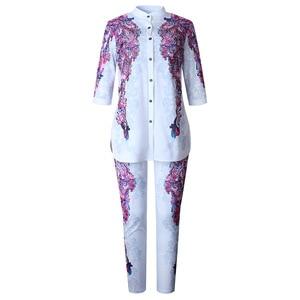 Image 3 - Africa Clothing African Print Elastic Bazin Baggy Pants Rock Style Dashiki SLeeve Famous Suit For Women Coat + Leggings 2pcs/se