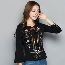 Ethnic shirt online Chinese store women autumn elegant vintage three  quarter sleeve black red embroidery blouse blusa AF555 5d9479398803