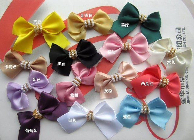 180PCS Assorted 5.5x3.5CM Satin ribbon Bow with Beads Appliques craft for baby's hairpin/headband decoration