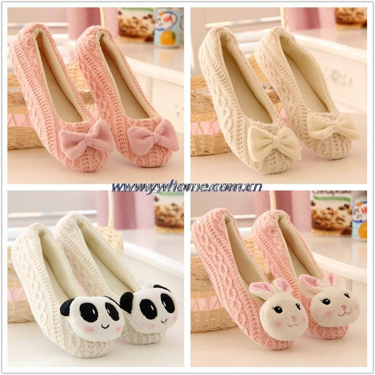 Hot Selling Free Shipping Warm Soft Sole Woman Indoor Floor Slippers/Shoes Crochet Bowtie Pantufa Home Slippers Shoes chinelo