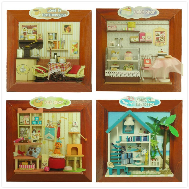 Diy frame house home decor wooden doll house furniture with light miniature cake coffee pet shop Home decorations light kit