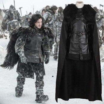 Oyun Thrones Jon Kar Cosplay Kostüm Serin Adam Kıyafetler Kış Ceket Cadılar Bayramı Erkek Cosplay Tam Set Egzotik Giyim Büyük boyutu