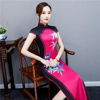 2019 Long Cheongsam Vintage Chinese style Mandarin Collar Dress Womens Summer Rayon Qipao Slim Party Dresses Vestido S-4XL