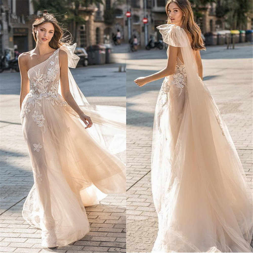 Beach Wedding Dresses A Line Sleeveless Sexy Bridal Gowns Tulle