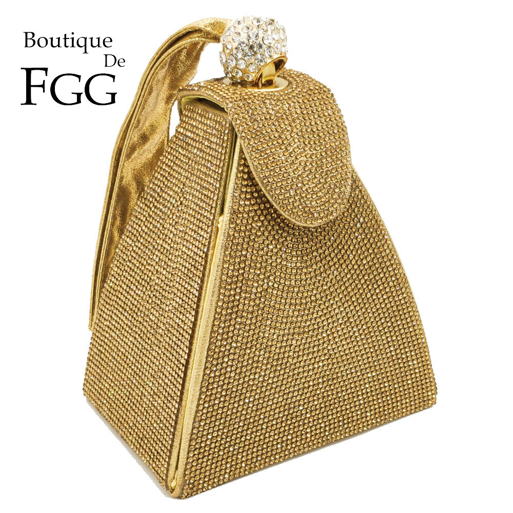 Boutique De FGG Dazzling Fashion Pyramid Crystal Clutch Evening Bags For Women 2019 Designer Evening Wedding Wristlets Handbags
