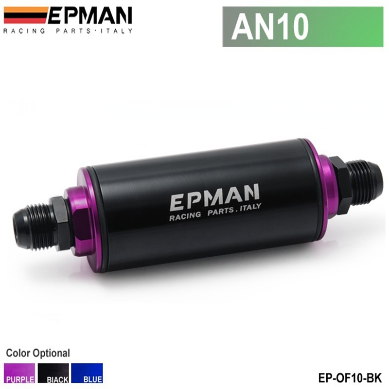 EPMAN -Aluminum High Flow Fuel Filter AN10 Black with 100 Micron Element Steel SS Universal High Pressure Performance EP-OF10-BK