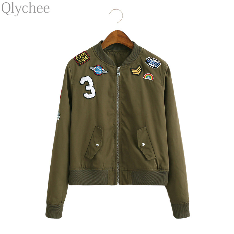 Qlychee Punk Patchwork Embroidery font b Women b font Coat Army Green Female Bomber font b