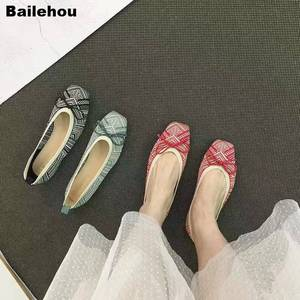 Image 2 - Women Flats Ballet Shoes Breathable Knitted Square Toe Moccasin Mixed Color Flat Ballerina Shallow Butterfly knot Colorful Shoes