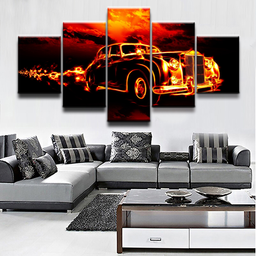 Modern Home Decortive Wall Art Framework Artwork 5 Pieces Movie Flame Car Poster Paintin ...