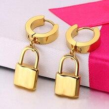 Lock Shaped Steel Earrings (1 pair)