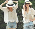 2016 mujeres del verano del sombrero para el sol, choke ají boca sombrero de paja, circunferencia de la cabeza 55-58 cm, de color beige y blanco, envío gratis