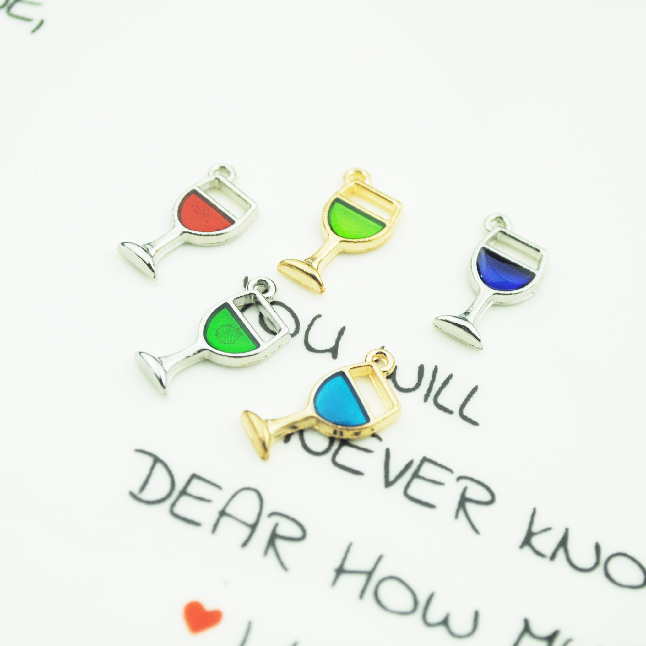 10pcs lot 9 18mm Colorful Enamel Wine In Glass Enamel Charm Zinc Alloy Little Pendant Charm DIY Cute Earring Jewelry in Charms from Jewelry Accessories