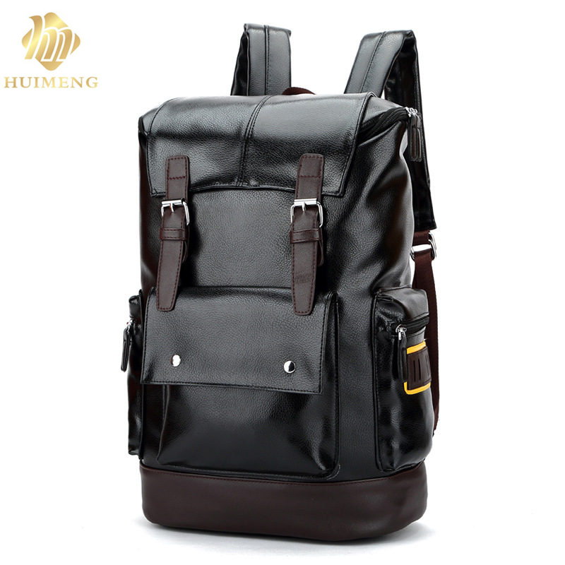2017 Men Laptop Bags Mochila Backpack 15.6 Inch High Quality Leather Men Backpack Shoulder Bag Schoolbag Computer Travel Bag