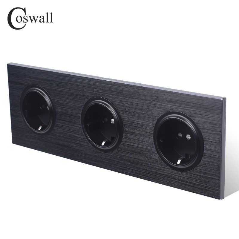 Coswall luksusowy czarny panel aluminiowy 16A trzyosobowy standard ue ścienne gniazdo zasilające 3 Way uziemione z zabezpieczeniem przed dziećmi