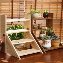 4 tier wielokrotnego użytku drabiny styl stałe mini drewniana półka