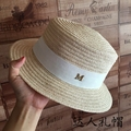 Summer new linen flat straw hat female hat elegant British gold letters