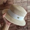 Summer new linen flat straw hat female hat elegant British gold letters