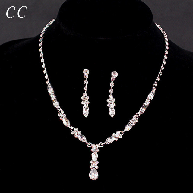 2017 Long Simple Style Top Cz Crystal Necklace Earring Sets For Women Party Wedding Fashion