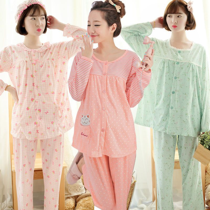 Stripes Cotton 2 Pieces Maternity Clothes Maternity Sleepwear Breastfeeding Sleepwear Nursing Pajamas Pregnant Women Pajamas