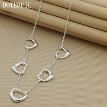 Free Shipping Wholesale Silver 925 Necklaces Pendants Jewelry Five Heart Link Chain Necklace