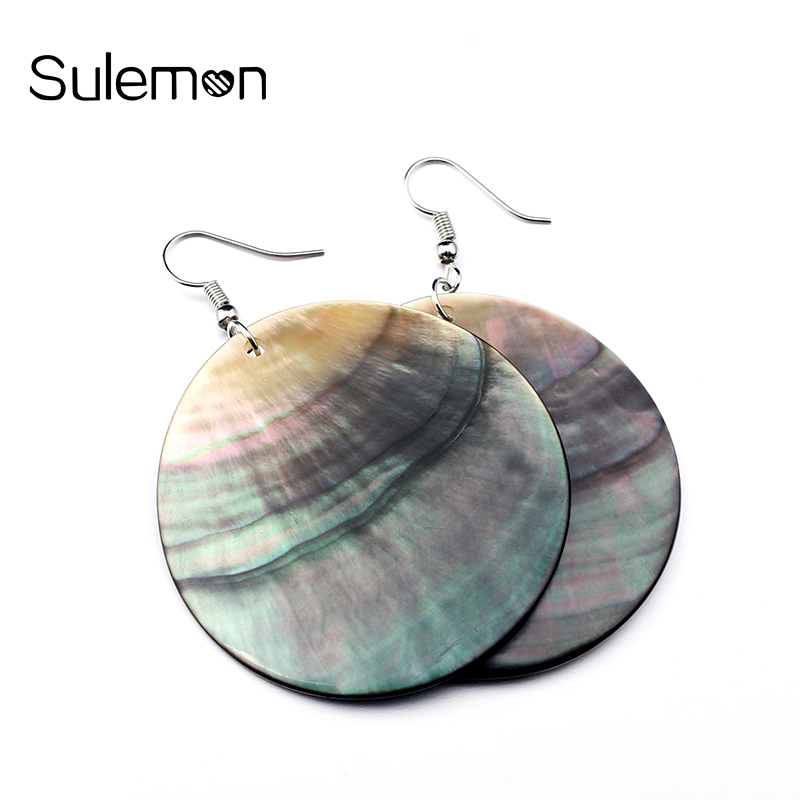 Shell Hitam alami Anting-Anting Mode Geometris Warna Bulat Shell Pendant Drop Earrings Untuk Wanita & Gadis Perhiasan Gaya Sederhana SHE08
