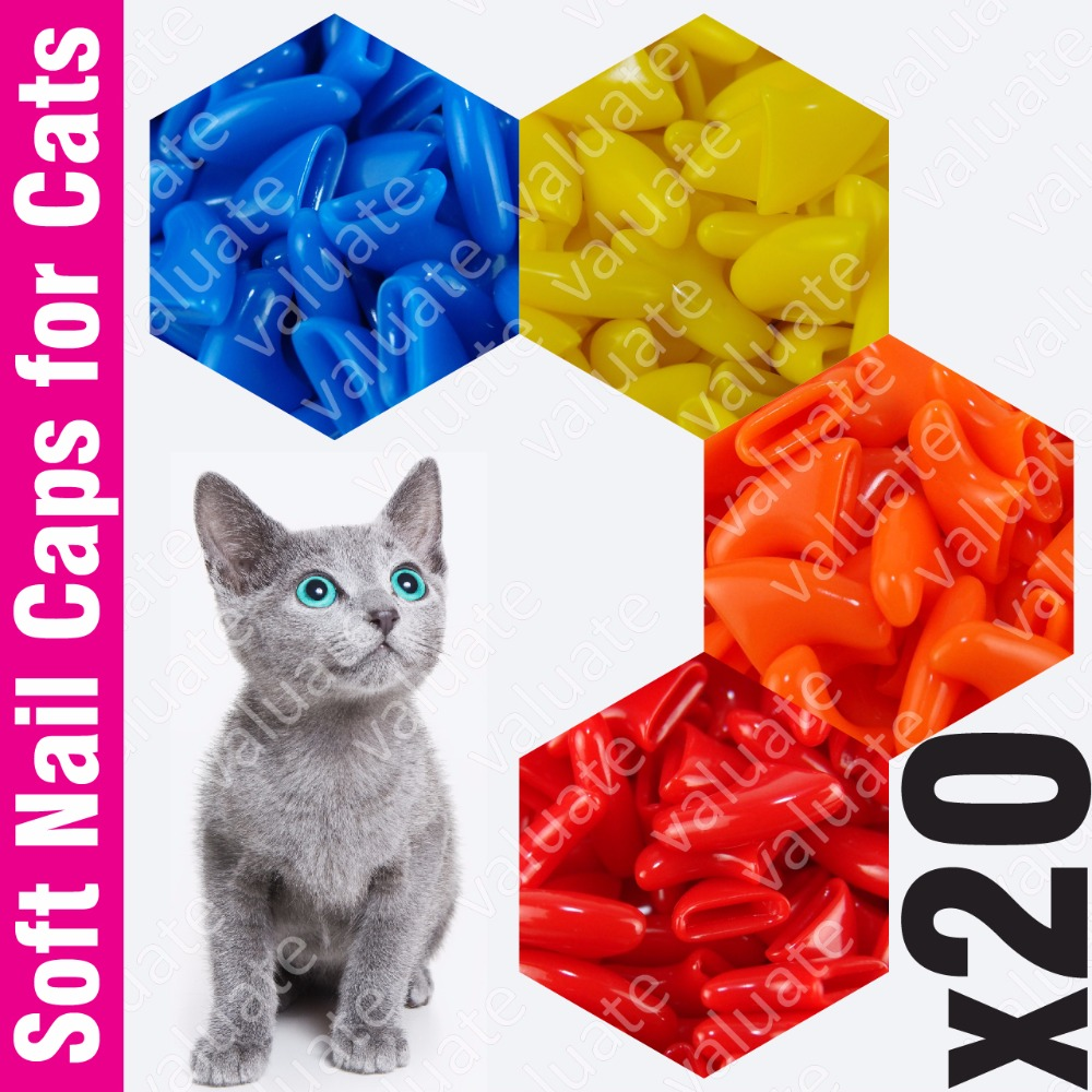 20pcs Value Soft Nail Caps For Cats With Adhesive Glue And Applicator, Size Xs, S, M, L, Claw, Cover, Paw, Xui