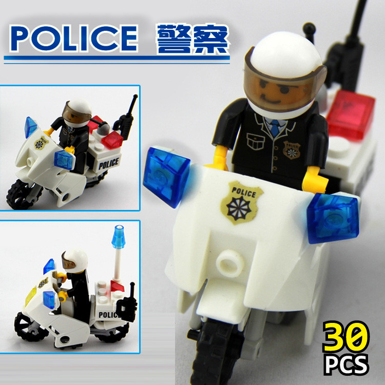 KAZI NEW6734 Police Motorcycle Playmobile Building Blocks Police Motorbike Bricks Kids Boys Birthday Gift Toys for Children