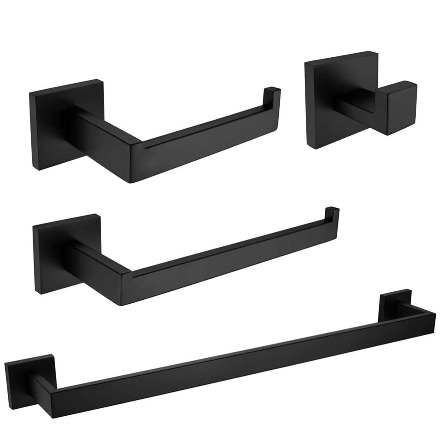 Bath Shower Set SUS 304 Stainless Steel Bathroom Hardware Accessories Sets Towel Bar Black Matte Finish Contemporary Style