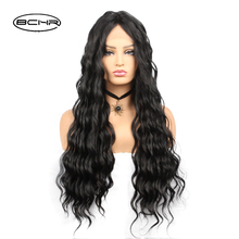 BCHR Long Water Wave Synthetic Lace Front Black Wigs 130% Density With Pre Plucked lace For Women Free Shipping
