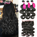 Peruvian Body Wave Bundles With 360 Frontal Wavy Peruvian Virgin Hair Body Wave 360 Lace Frontal Closure With Bundles Human Hair