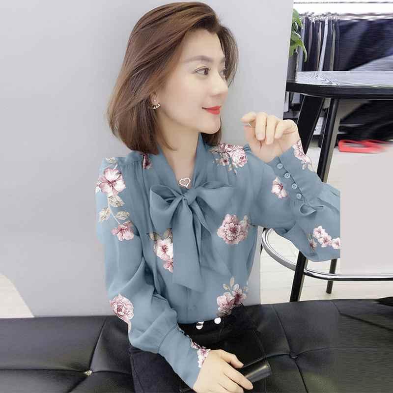 Новый 2019 Весна Для женщин блузка женская одежда элегантная рубашка с длинными рукавами женская мода Повседневное плюс Размеры 3XL Блузы футболки S113