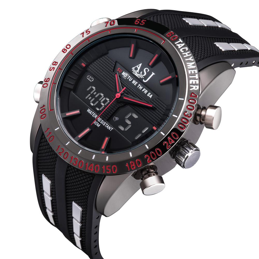 Prix pour Asj top fashion brand design sport numérique led homme mâle horloge acier cool militaire de natation poignet quartz d'affaires de montre de luxe