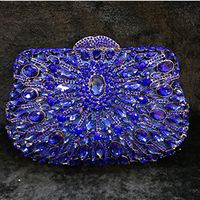 Fully Crystal Women Metal Evening Clutches Bags blue Bridal Wedding prom Handbags cocktail Purse Party Dinner banquet Clutch Bag